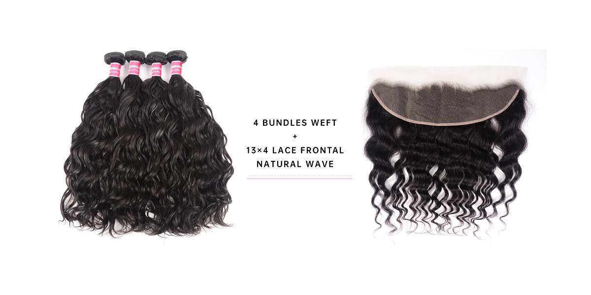 Natural Wave Cheap 4 Bundles With Frontal
