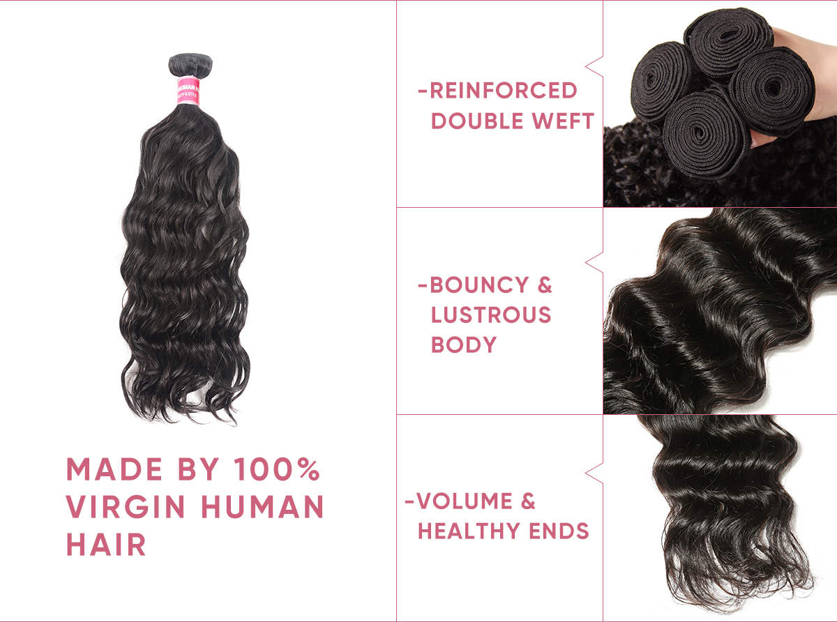 Cheap Natural Wave 4 Bundles With Frontal