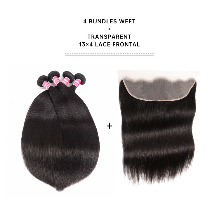 Straight 4 Bundles With Frontal 13x4 Inch