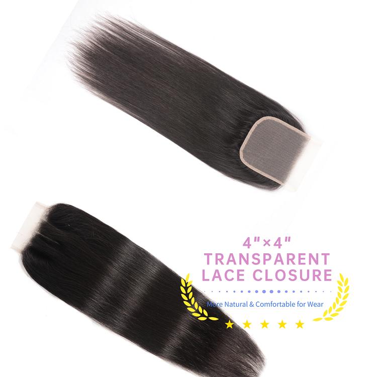 4 Bundles Straight With 4x4 Transparent Lace Closure