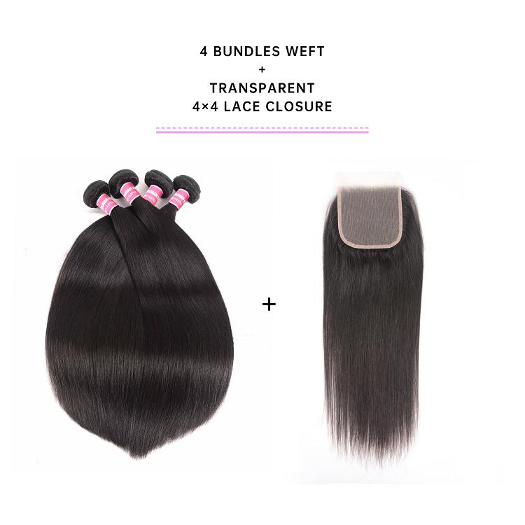 Straight Virgin Hair 4 Bundles With Closure