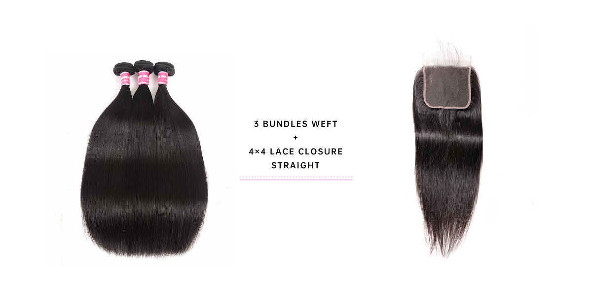 3 Bundles Straight Hair With 4x4 Lace Closure