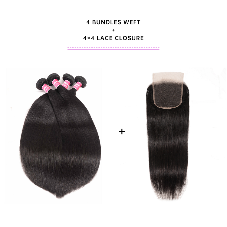 Straight Human Hair Weave With Lace Closure