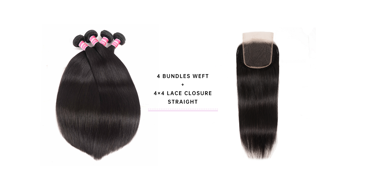 Straight Virgin Hair Bundles With 4x4 Lace Closure