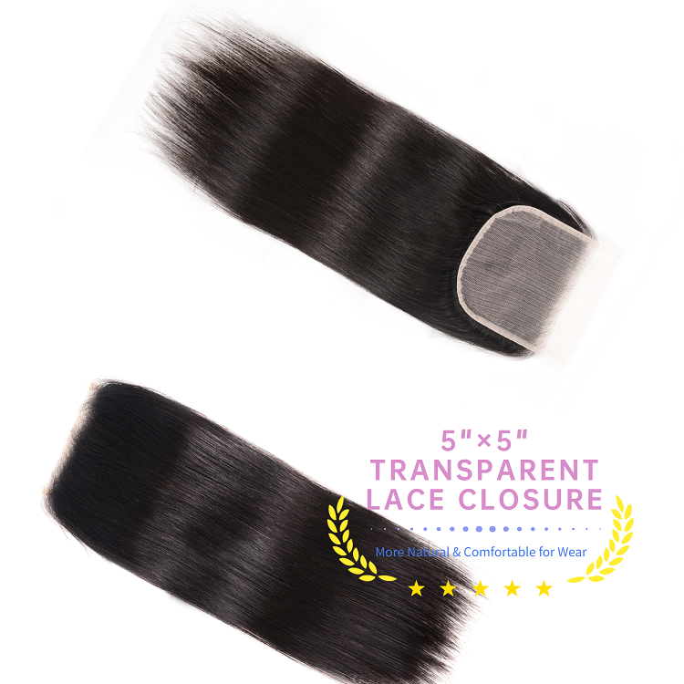 Brazilian Straight Hair With 5x5 Transparent Lace Closure