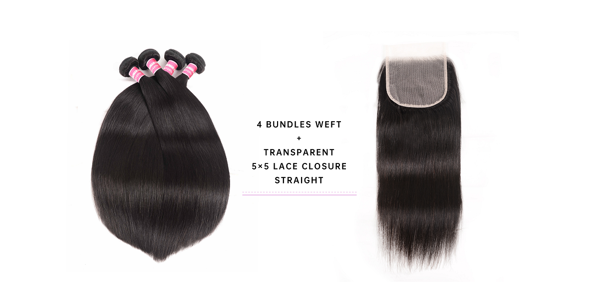Virgin Hair Straight Bundles With 5x5 Transparent Lace Closure
