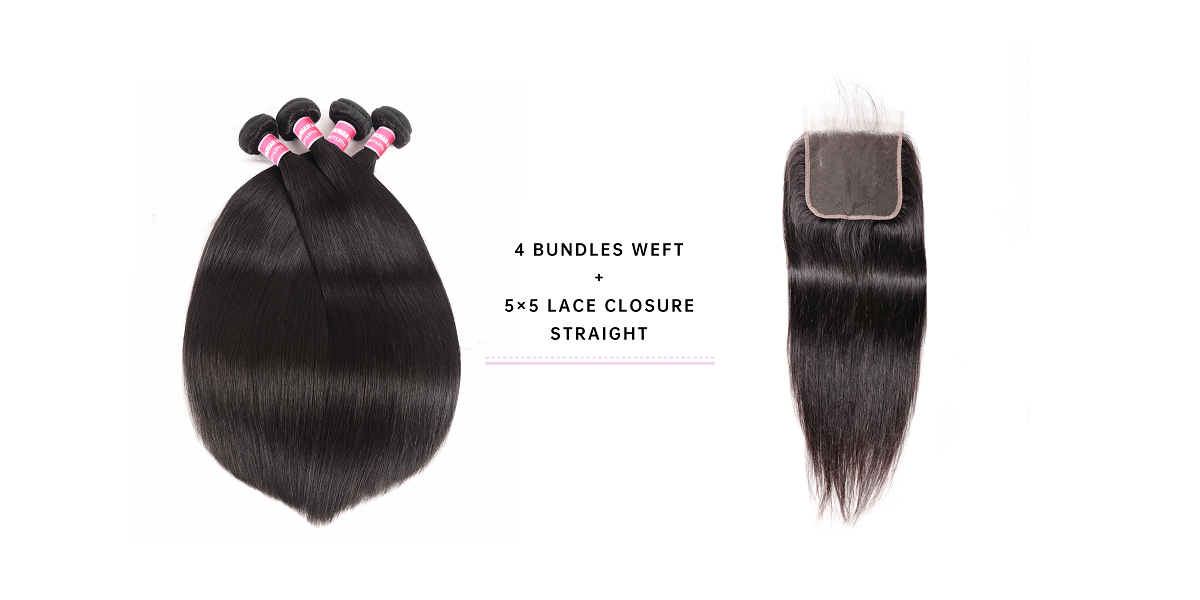 Straight Virgin Hair 4 Bundles With 5x5 Lace Closure