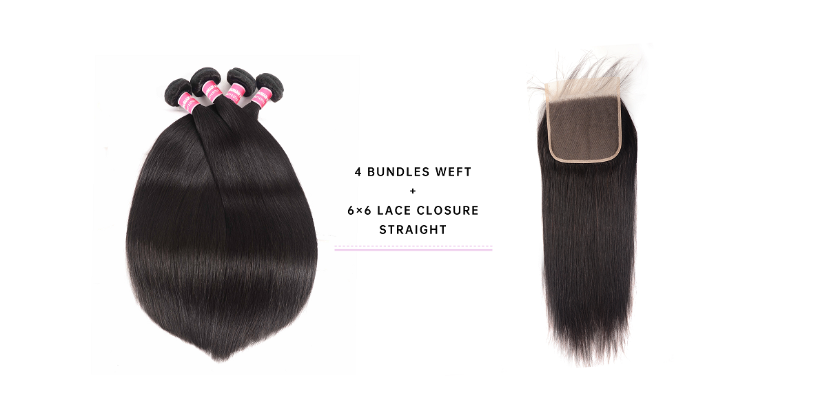 Straight 4 Bundles With Closure 6x6 Inch