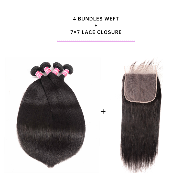 4 Bundles Straight Hair With 7x7 Lace Closure