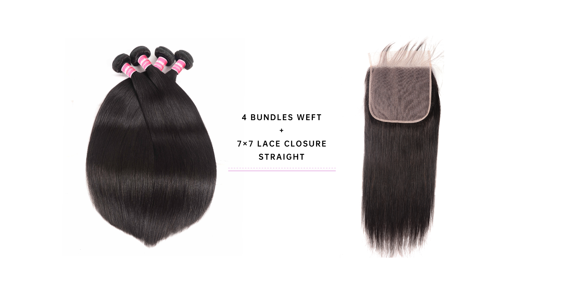 4 Bundles Straight Virgin Hair With 7x7 Lace Closure