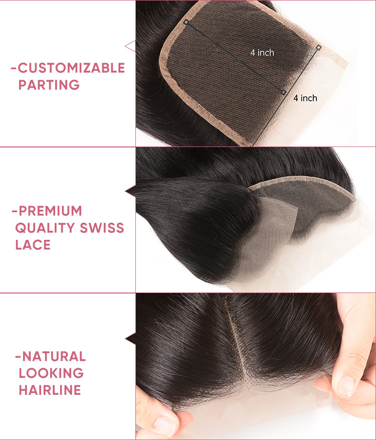 3pcs Straight With 4x4 Lace Closure