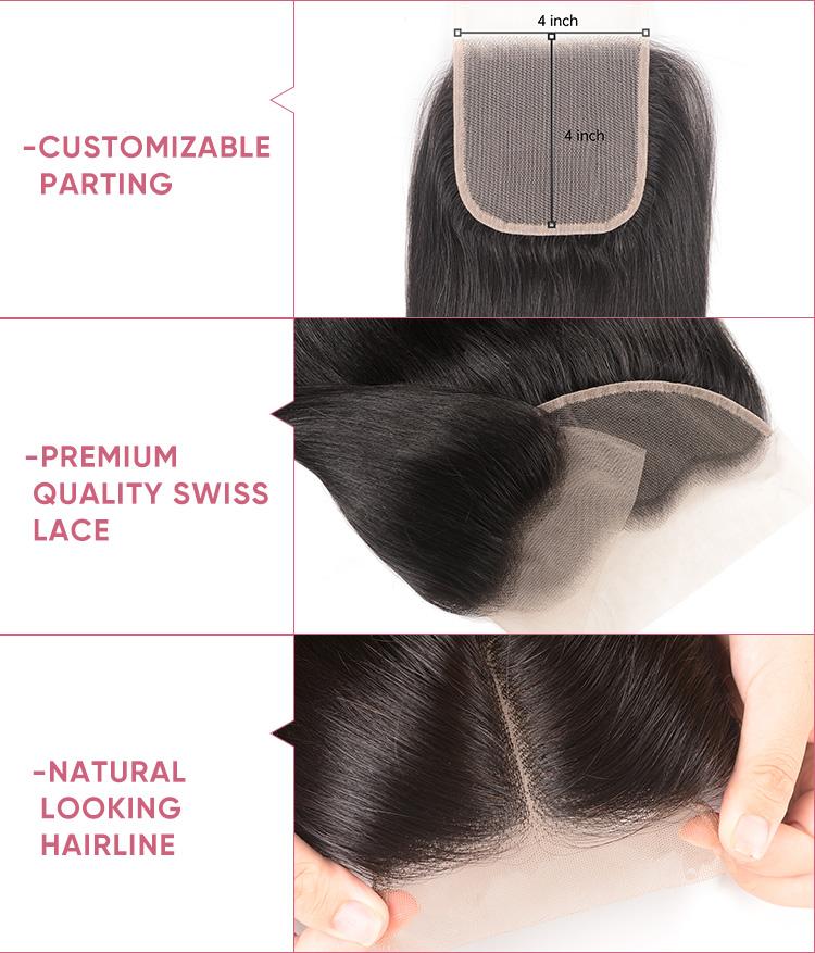 4 Bundles Straight Virgin Hair With Closure