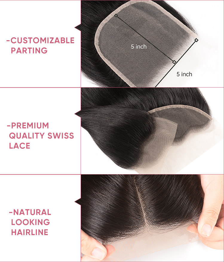 3pcs Straight Human Hair With Transparent Lace Closure