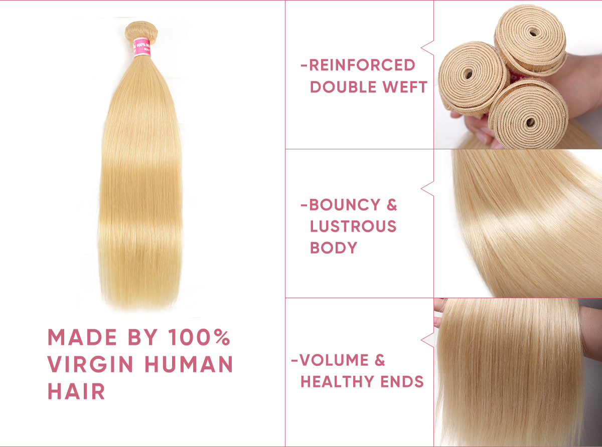 100% virgin human hair 4 bundles with frontal