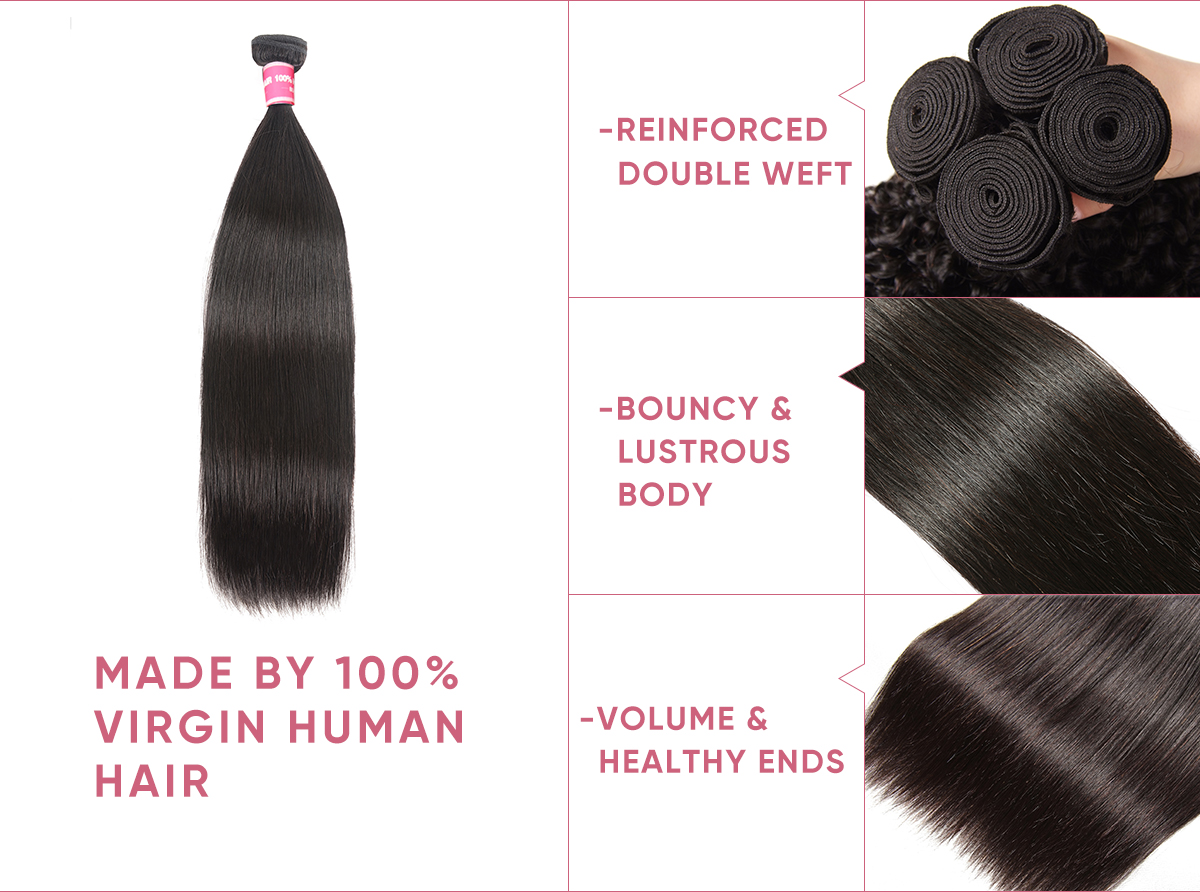 Straight Human Hair 3pcs With Transparent Lace Frontal