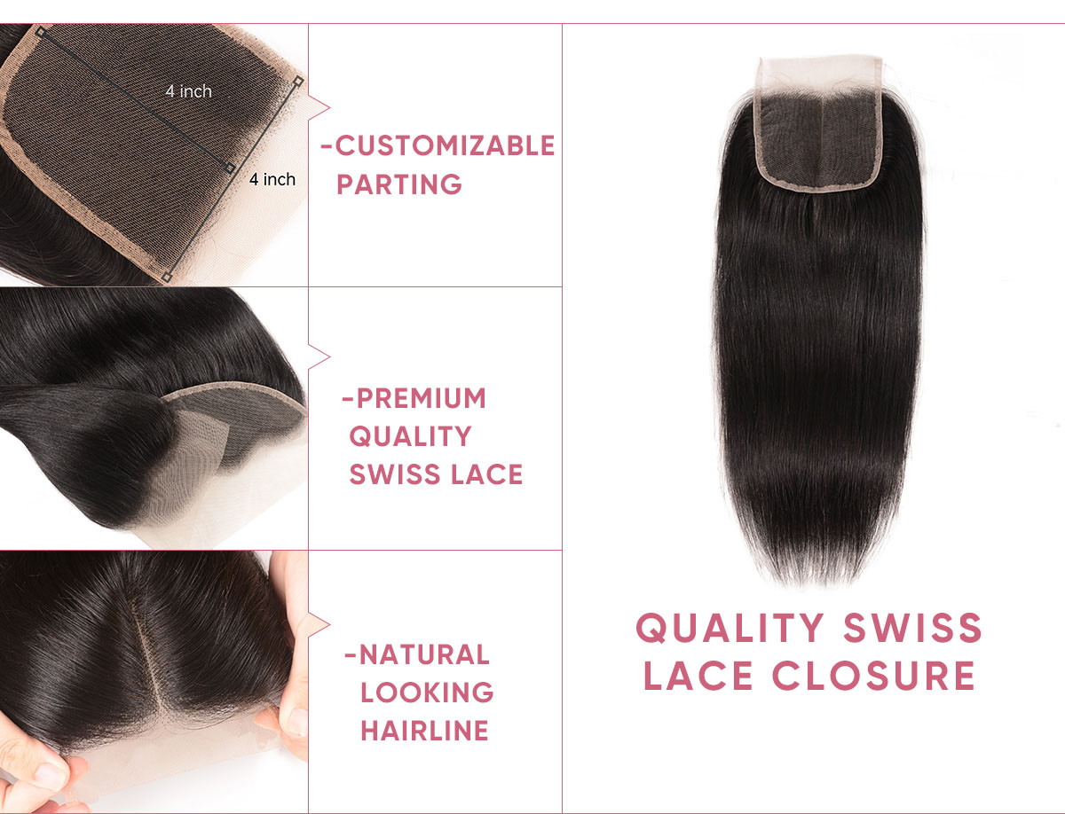 Straight Human Hair 3pcs With Lace Closure