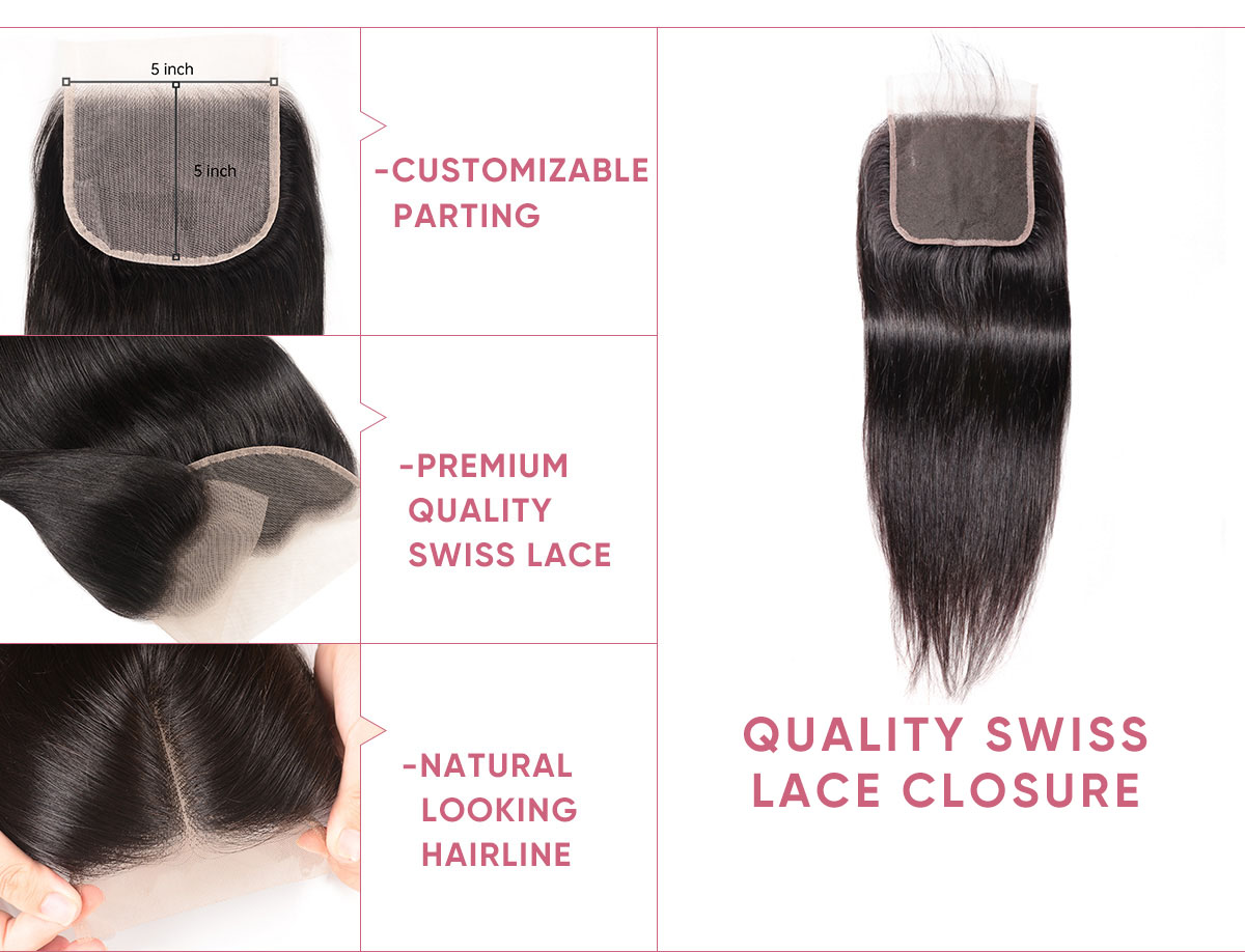 4 Bundles Straight Hair With 5x5 Lace Closure