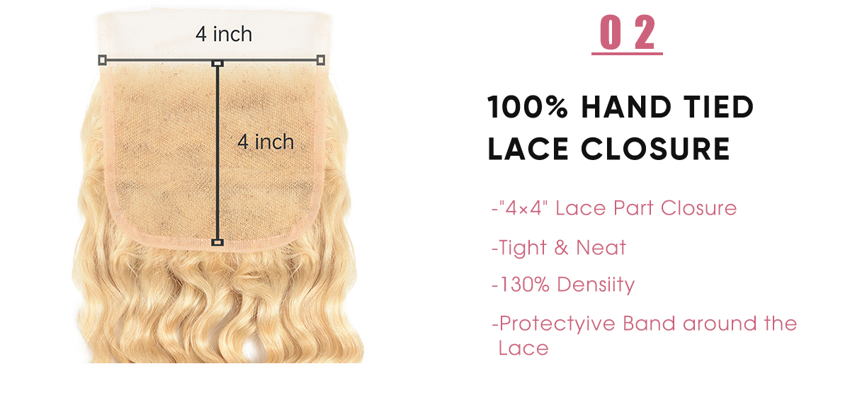 Deep Wave Lace Closure 613 Human Hair