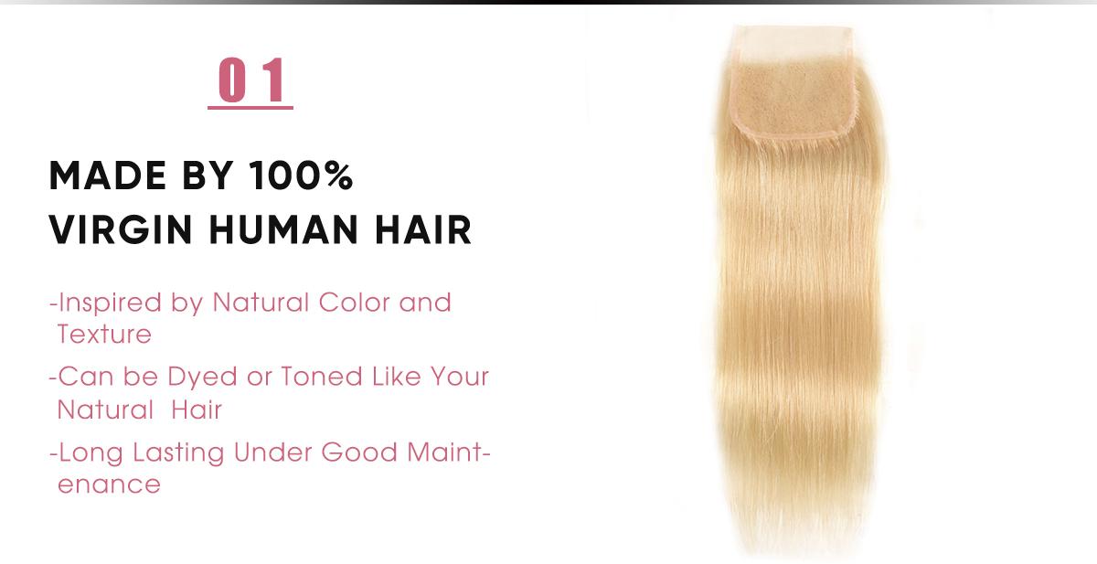 Virgin Hair 613 Straight Hair Lace Closure