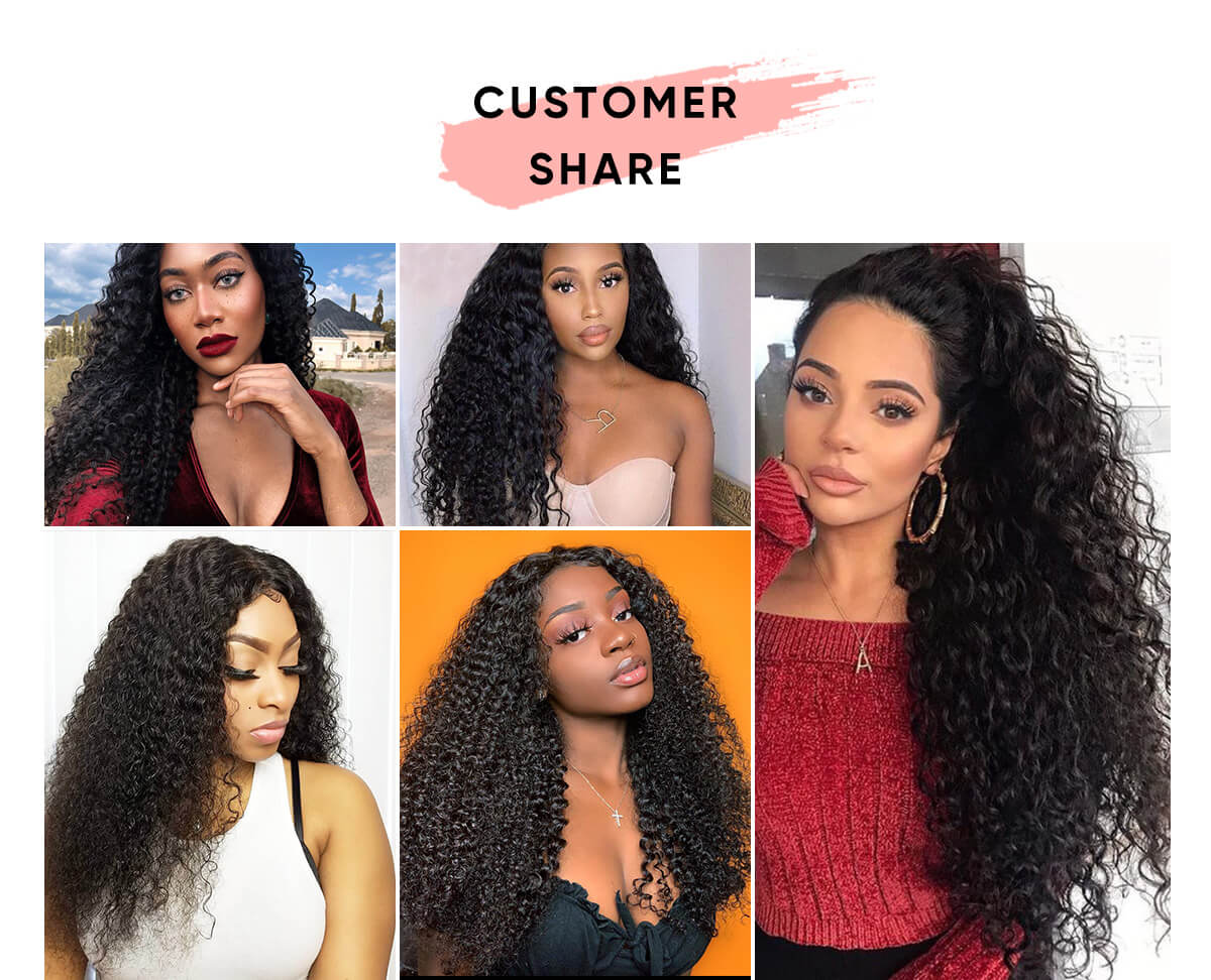 Jerry Curly 3 Bundle Deals With 4x4 Transparent Closure