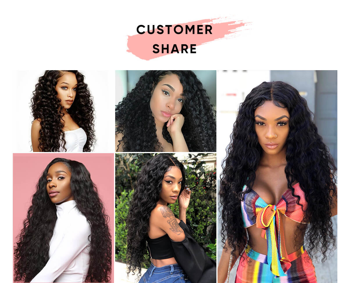 3pcs Deep Wave Human Hair With Lace Frontal