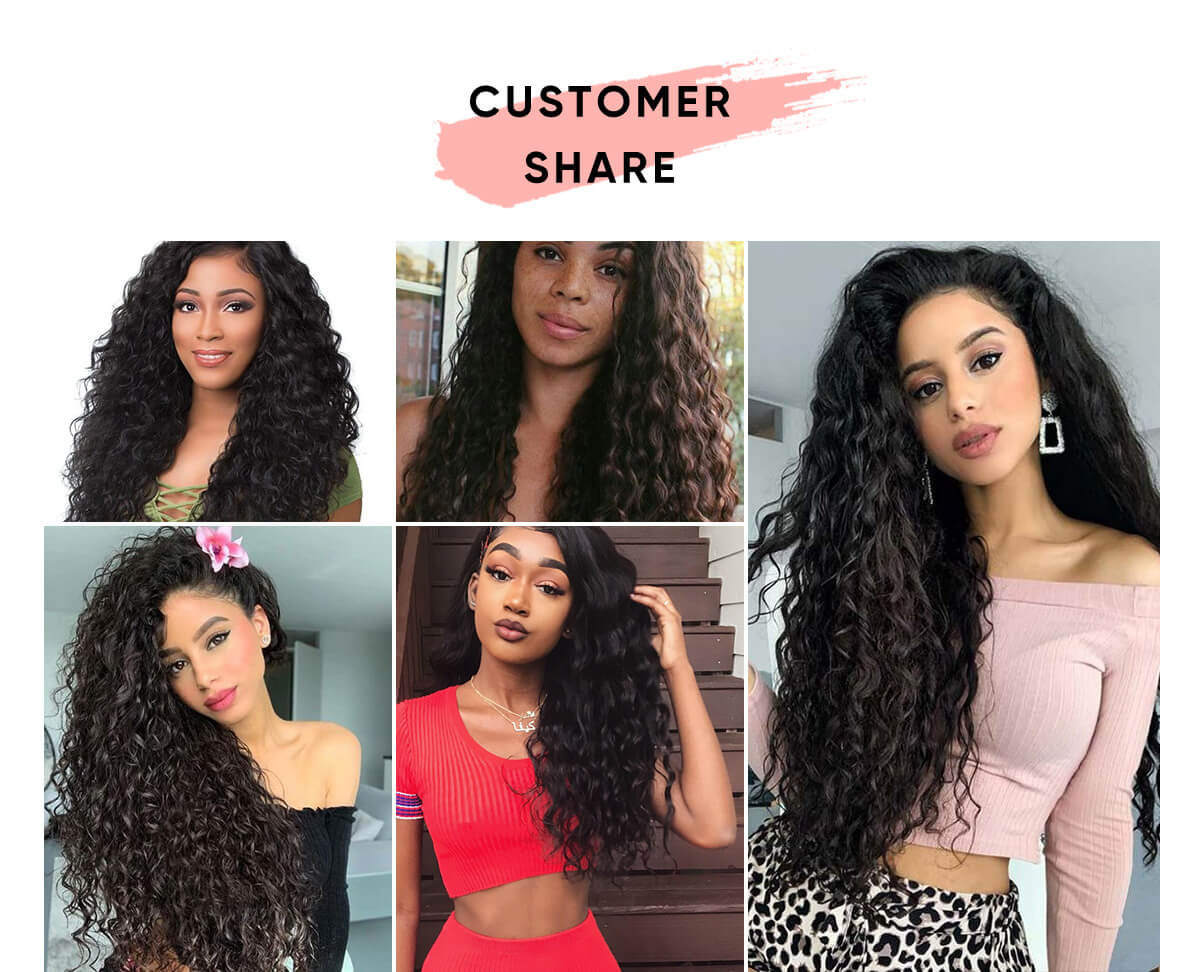 4 Bundles Water Wave Hair With 4x4 Lace Closure