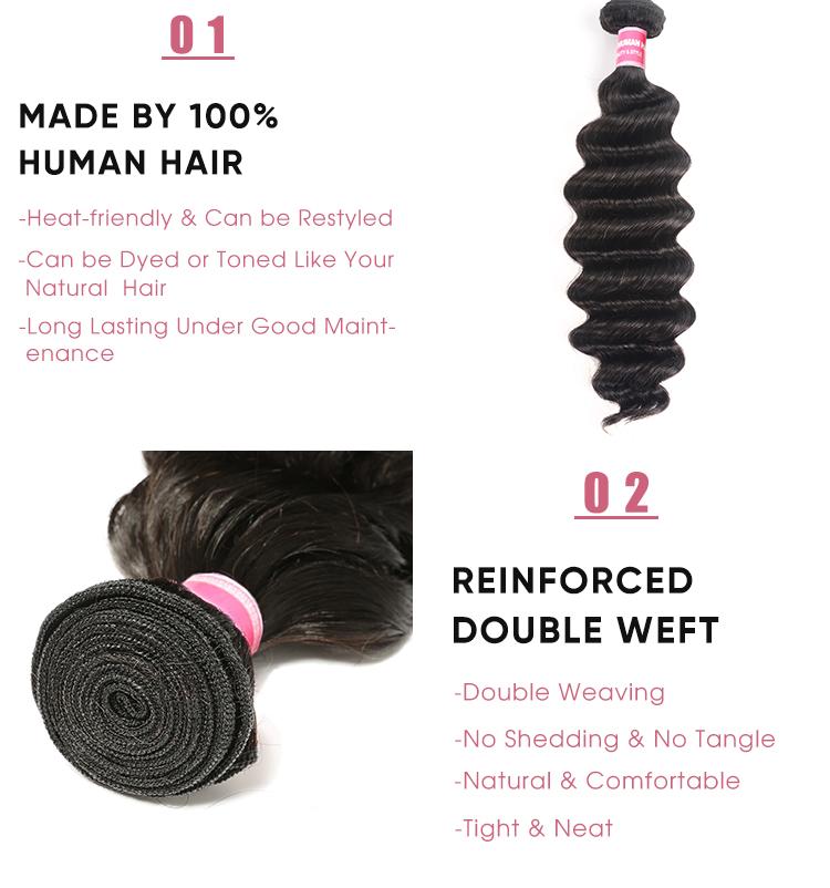 Loose Deep Wave Brazilian Human Hair Weave