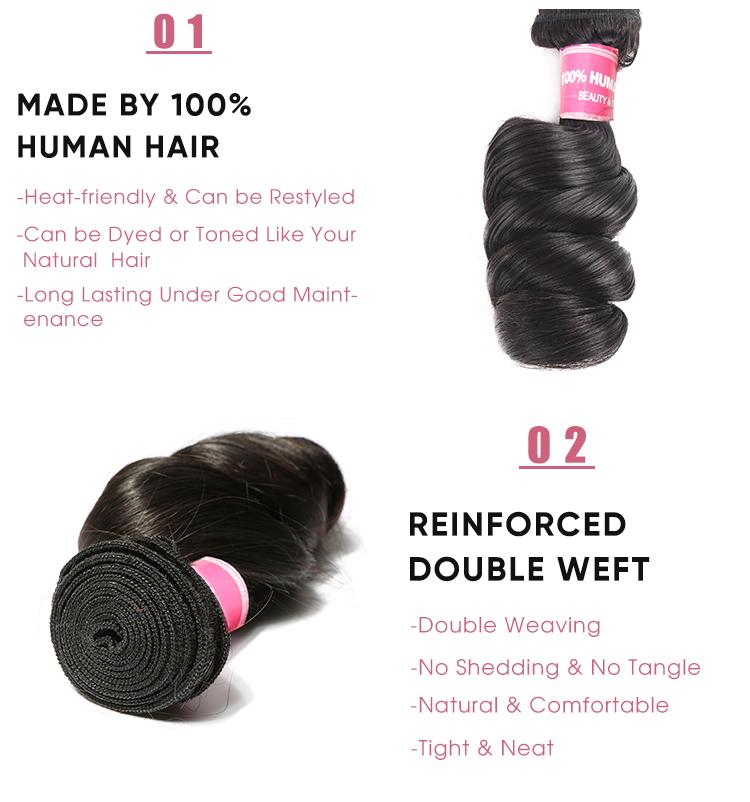 Virgin Hair 4 Pcs Brazilian Loose Wave Bundles