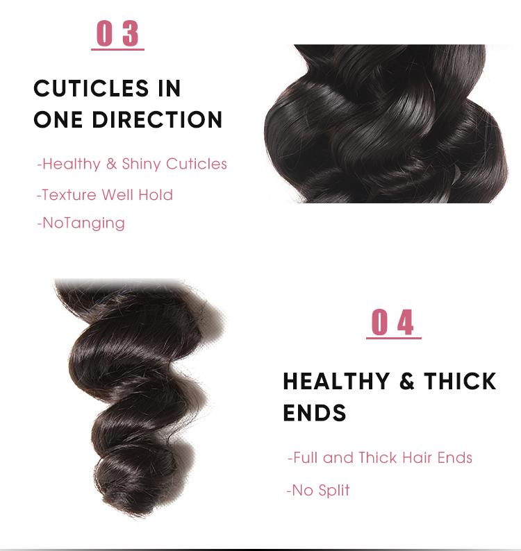Human Hair Loose Wave 4 Pcs Hair Bundles